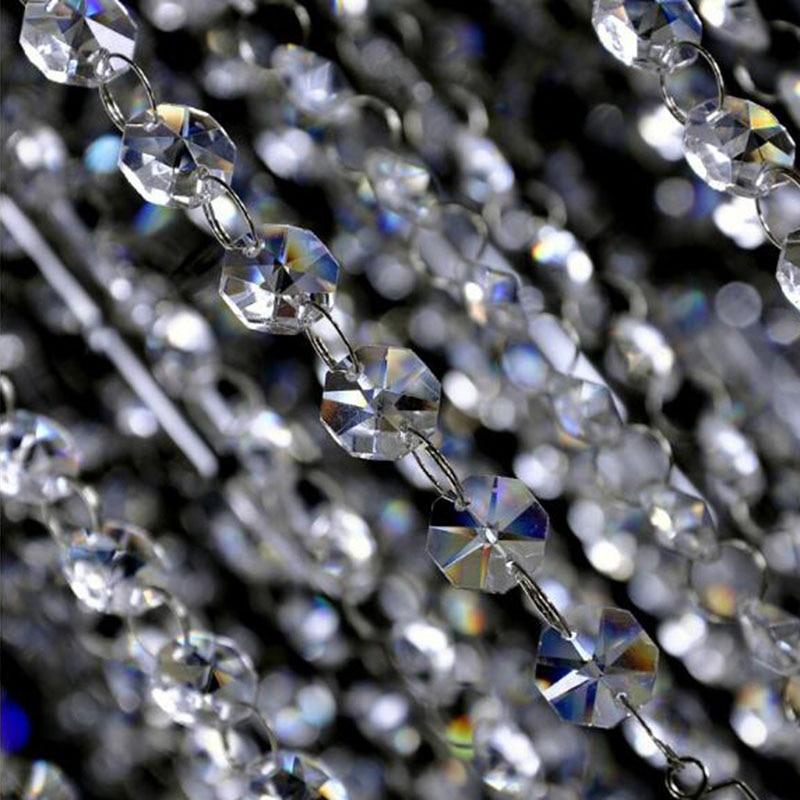 100cm Glass Crystal Prisms 14mm Octagon Beads Chain Chandelier Parts Lighting Accessories Garland Strand Curtain Chain Wedding