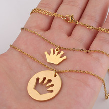 Fashion Trendy Double Layer Stainless Steel Crown Pendant Necklace For Women Gold And  Color Necklace Engagement Jewelry chereda stainless steel necklace for women man lover s girl gold and silver color pendant necklace engagement jewelry