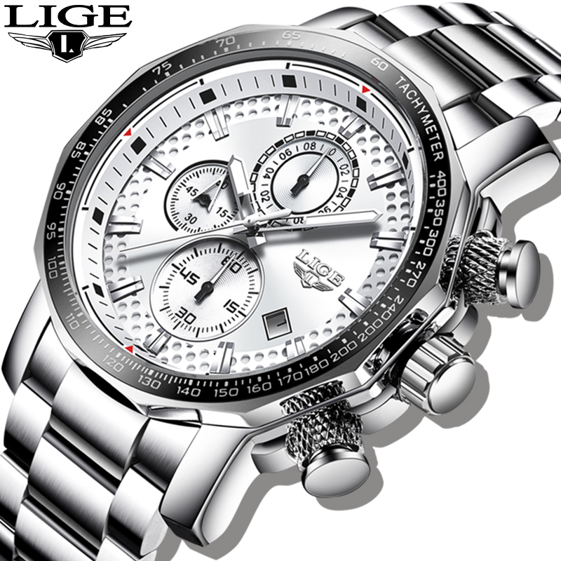 2020 LIGE Silver Big Dial Watch Men Sport Quartz Clock Fashion Mens Watches Top Brand Luxury Man Military Waterproof Chronograph