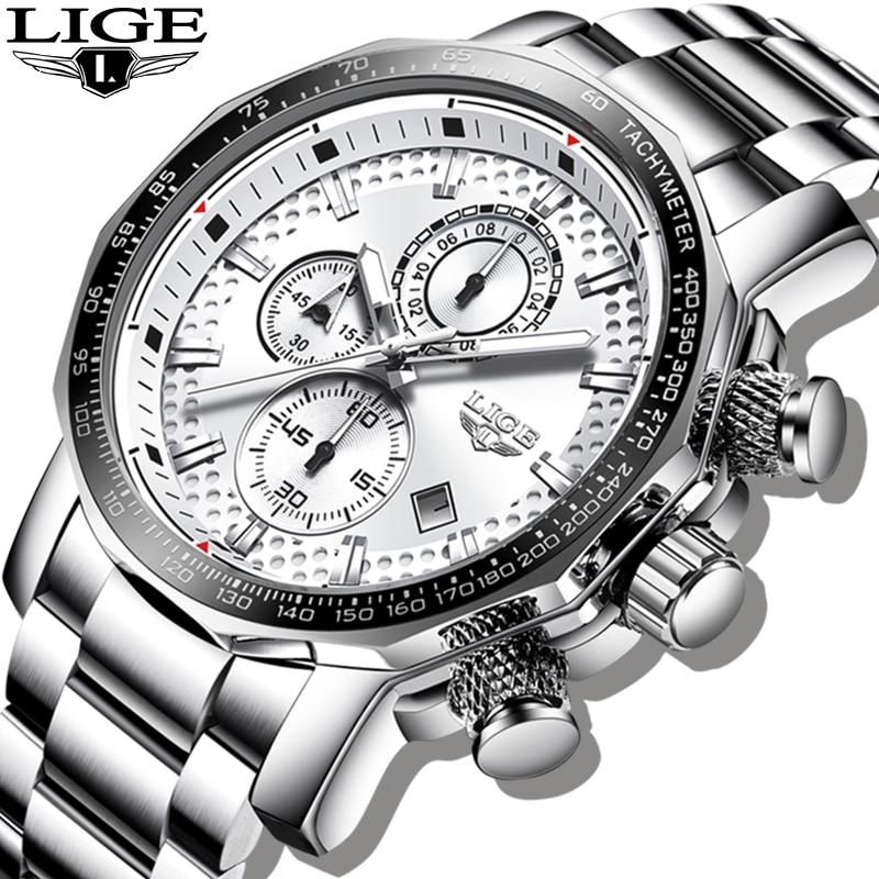 2020 LIGE Silver Big Dial Watch Men Sport Quartz Clock Fashion Mens Watches Top Brand Luxury Man Military Waterproof Chronograph