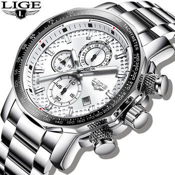 2020 LIGE Silver Big Dial Watch Men Sport Quartz Clock Fashion Mens Watches Top Brand Luxury Man Military Waterproof Chronograph - discount item  91% OFF Men's Watches