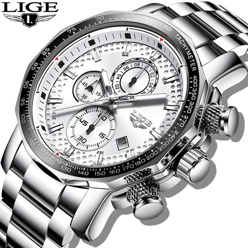 2020 LIGE 실버 빅 다이얼 시계 남성 스포츠 쿼츠 시계 패션 남성 시계 브랜드 럭셔리 남자 군사 방수 크로노 그래프