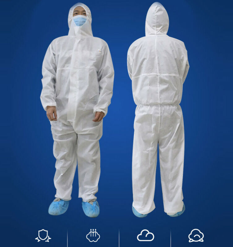 White Hazmat Suit Disposable Antivirus Coverall Safety Clothing Surgical Medical Protective Overall Suit Workshop Safety Suit