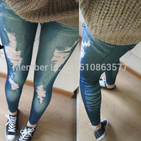 Retro Lady Women Skinny Slim Distressed Stretchy Jeans Leggings Jegging Pants