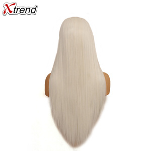 Image 2 - Xtrend Straight Synthetic Lace Front Wig White Pink Purple Green Blonde 613 Grey 60 Copper Wigs For Black Women Heat Resistant
