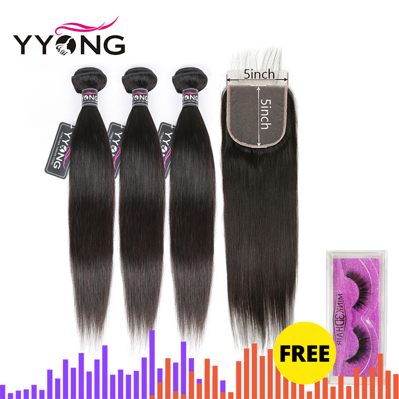 Yyong Hair 5x5 Closure With Bundles Brazilian Straight Remy 30inch Human Lace