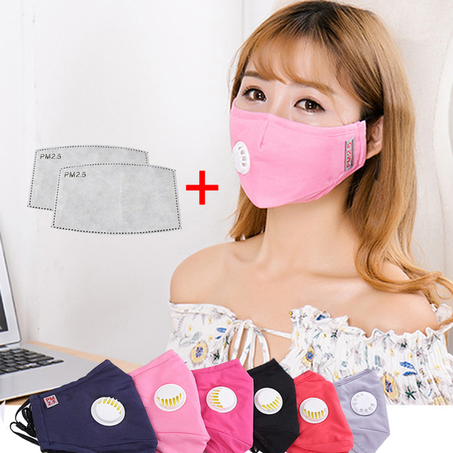 Pure Cotton Fashion Air Valve Mask PM2.5 Activated Carbon Filter Waterproof&Windproof Multiple Unisex Reusable Anti-Flu Mask