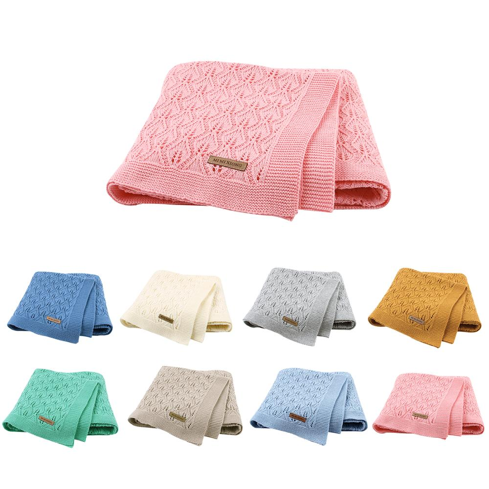 Baby Blankets Knitted Cotton Solid Color Newborn Bebes Sleeping Bed Stroller Blanket Covers Soft Infantil Swaddle Wrap Multi-use