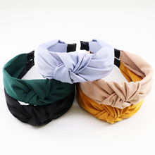 Classic Solid Color Headband Turban Front Knot Twill Fabric