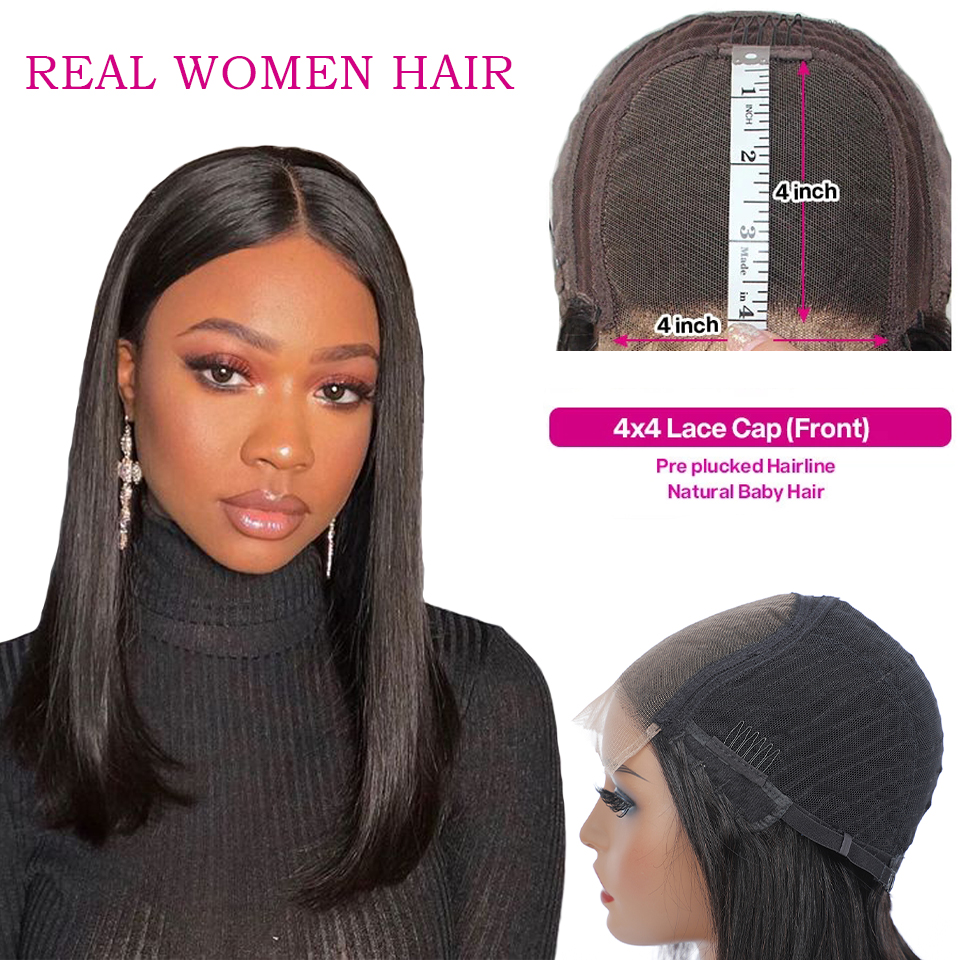 13x4/4x4 Straight Lace Front  Wigs 4x4 Lace Frontal Wigs    Lace Wigs for Women 180 Density 4
