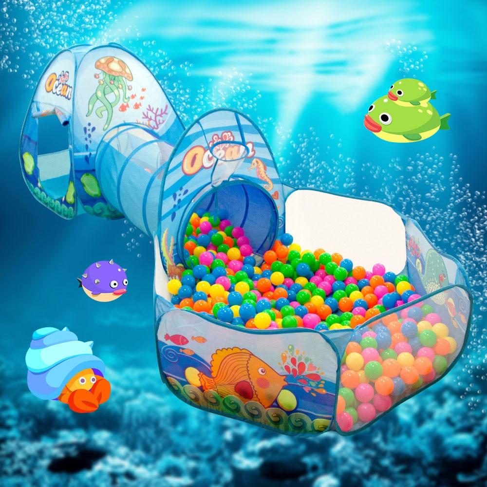 Детский бассейн с шариками 3 в 1, детский манеж с шариками, портативная детская палатка, туннель для ползания, детская игровая площадка, двор, ...