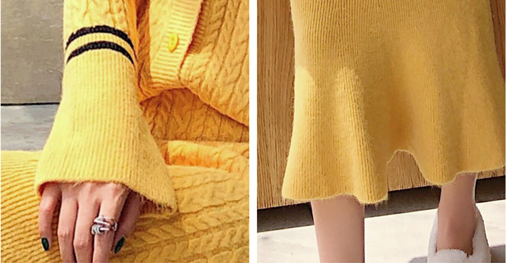 Knitted Women Two Piece Skirt Sets Suits Long Sleeve Cardigan And Mermaid Skirt Outfits Lady Runway Knitting Skirt Suits 2019 44