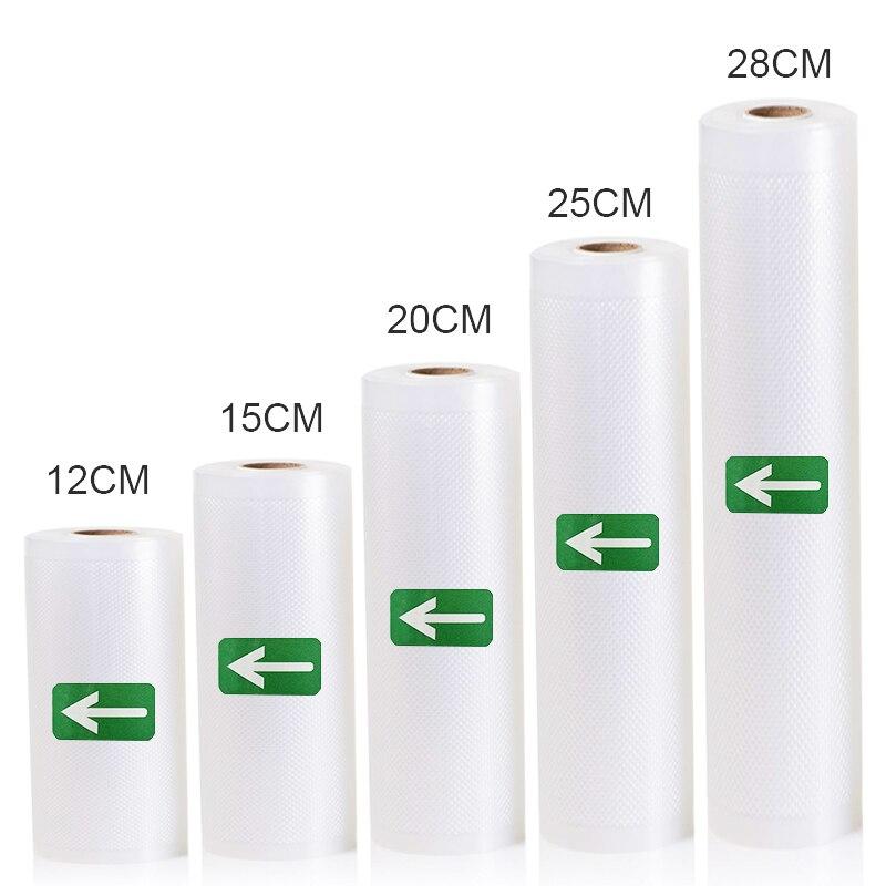 5 рулонов/2 рулона/партия, кухонные вакуумные пакеты для хранения продуктов, свежие пакеты для вакуумного упаковщика, хранение пищи 12 + 15 + 20 + ...