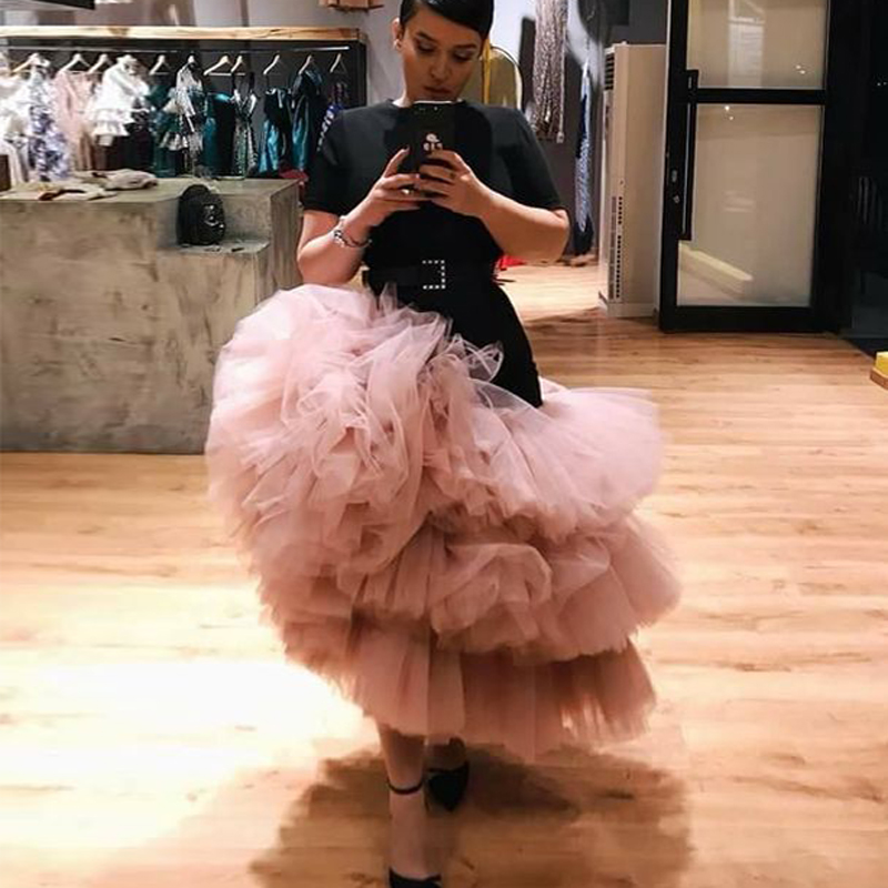 Dusty Pink Asymmetric Tutu Tulle Skirt For Women Ruffles Tiered Tulle Ball Gown Prom Party Skirts Draped Chic Cocktail Gown