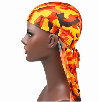 1PC Print Men's Silky Durags Turban Valentines Gift Headband Fashion Camo Free Size Headwear Elastic Comfortable Soft Adjustable 2