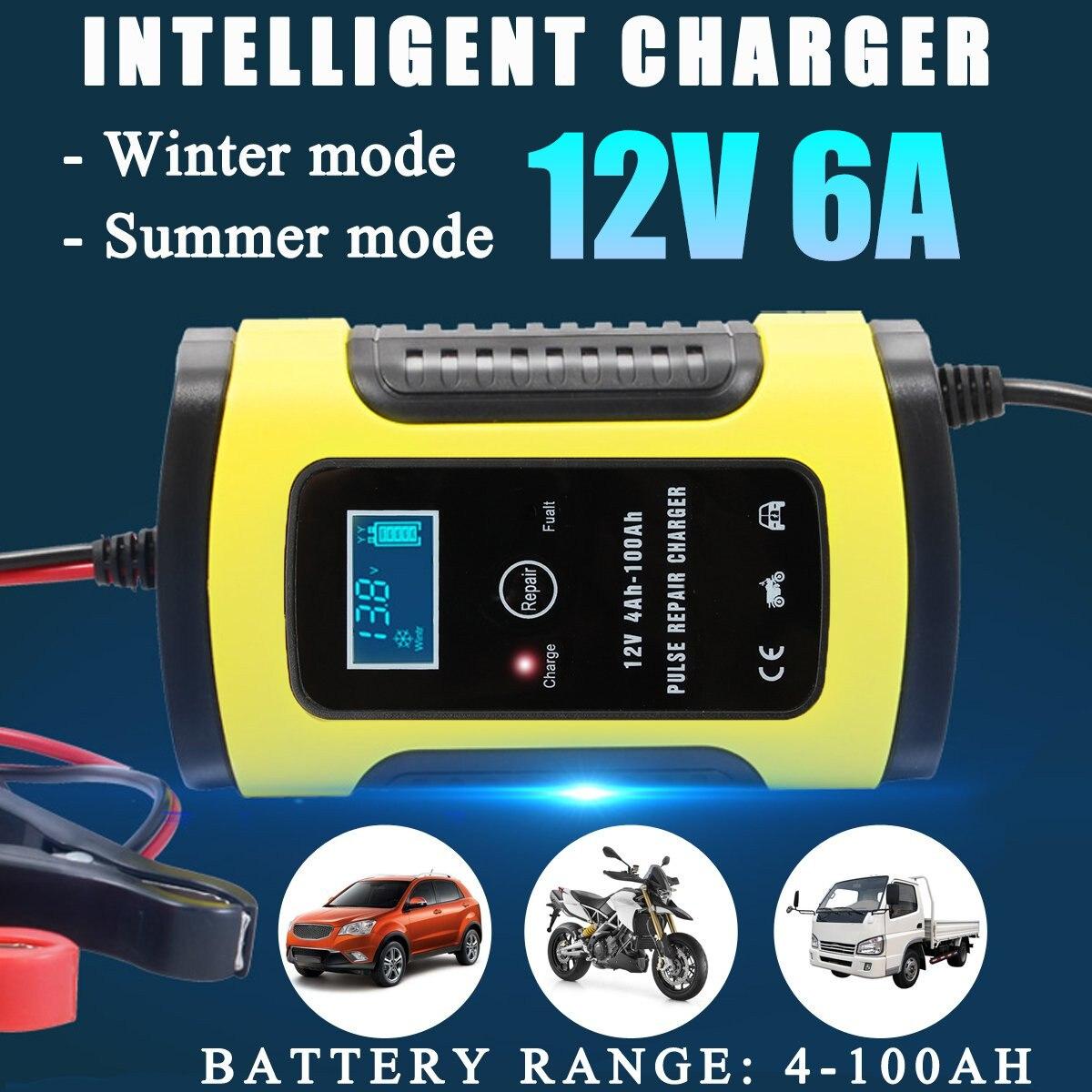 12V 6A Reparatie Lcd Battery Charger Smart Fast Voor Auto Motorfiets Reparatie Type Loodaccu Agm Gel Nat batterijen Opladen