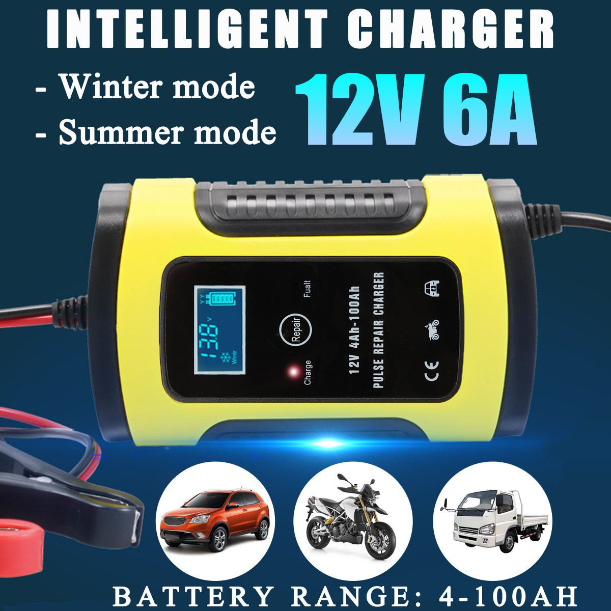 12V 6A Reparatur LCD Batterie Ladegerät Smart Schnelles Für Auto Motorrad Reparatur Typ Blei-säure-batterie Agm Gel Nass batterien Lade