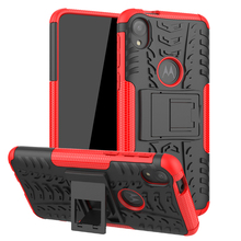 For Motorola Moto E6 Case Hard PC Armor Phone Holder Anti-knock Bumper Cover 5.5 inch