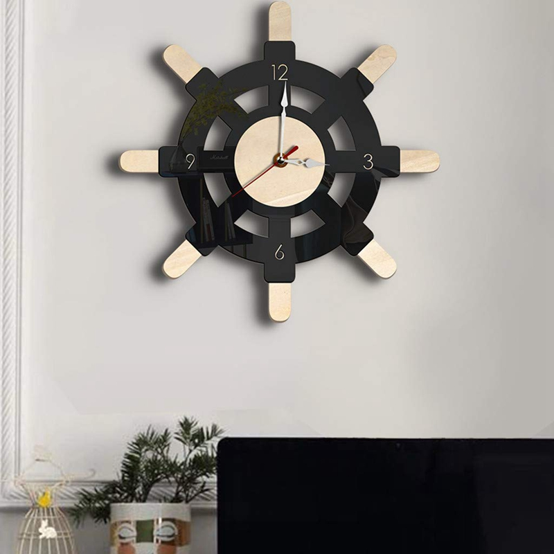 Nautical Wood Wall Clock Creative Rudder Nordic Style Silent Transparent Acrylic Clock Sailboat Steering Wheel <font><b>Helm</b></font> Decoration <font><b>f</b></font> image