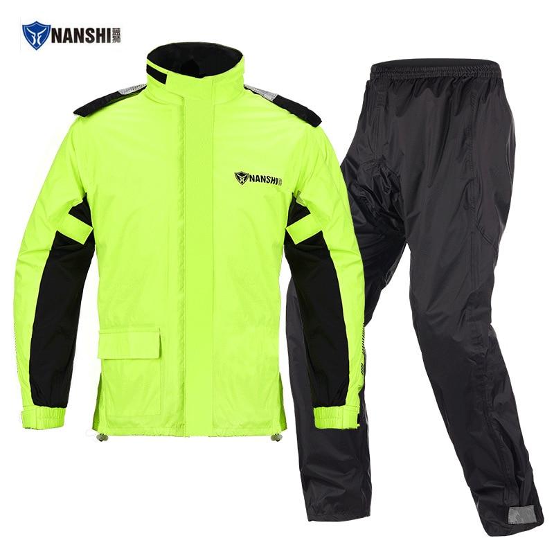 NANSHI Impermeable Motociclista Capa De Chuva Moto Motorcycle Rain Suit Combinaison Pluie Moto Reflective Waterproof Jacket Pant