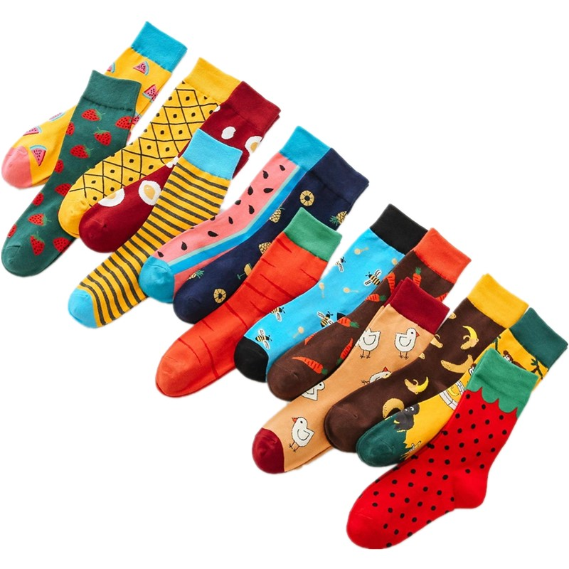 DOIAESKV 2Pairs/lot Women Socks Funny Cute Fruits Banana Strawberry Lemon Egg Food Happy Japanese Harajuku Skateboard Socks Men