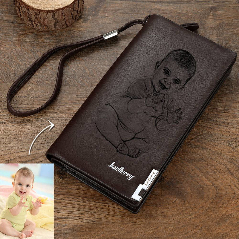 Custom Photo Engraved Wallet Long Section Leather Men Wallets Quality Zipper Large Capacity Big Brand Luxury Wallets For Men