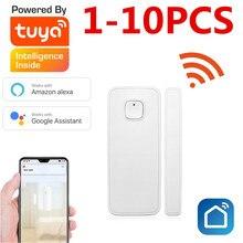 Tuya inteligente wi fi porta janela sensor detector de alarme vida inteligente compatível com alexa casa do google