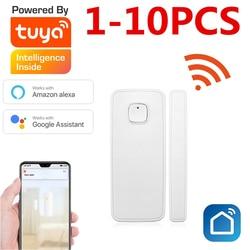 Умный Wi-Fi датчик двери окна Tuya, датчик сигнализации, совместим с Alexa Google Home