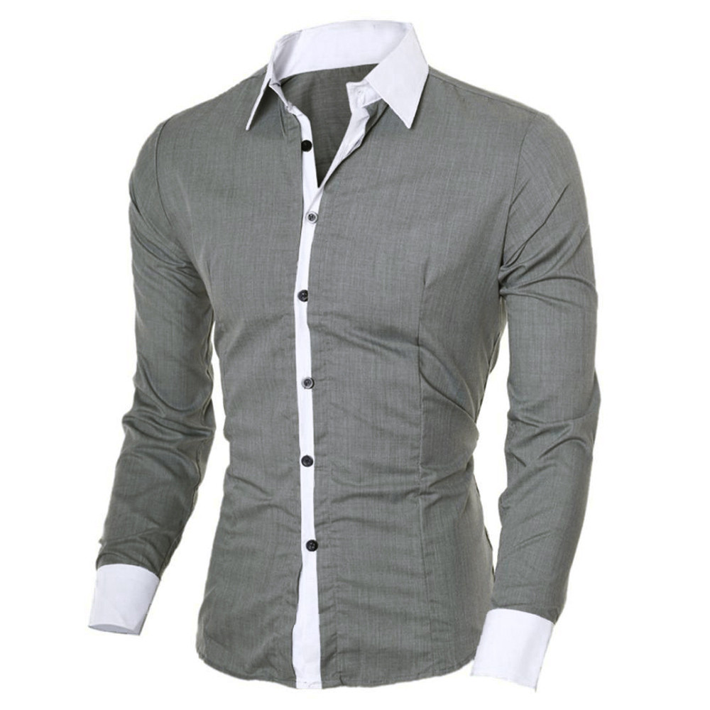 Men Blouse Fashion Personality Men's Casual Slim Long-sleeved Shirt Top 2020