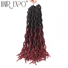 18inch Crochet Hair Goddess Faux Locs Curly Crochet Braids Soft Natural Synthetic Omber Braiding Hair Extension For Women Locs 12inch goddess faux locs curly ends short wavy crochet braids 12strand pack afro synthetic ombre crochet braiding hair extension