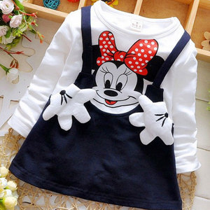2018 New Summer Cotton Baby Girls Cartoon Long Sleeves Dress Children's Clothing Kids Princess Dresses Casual Clothes 0-2years(China)