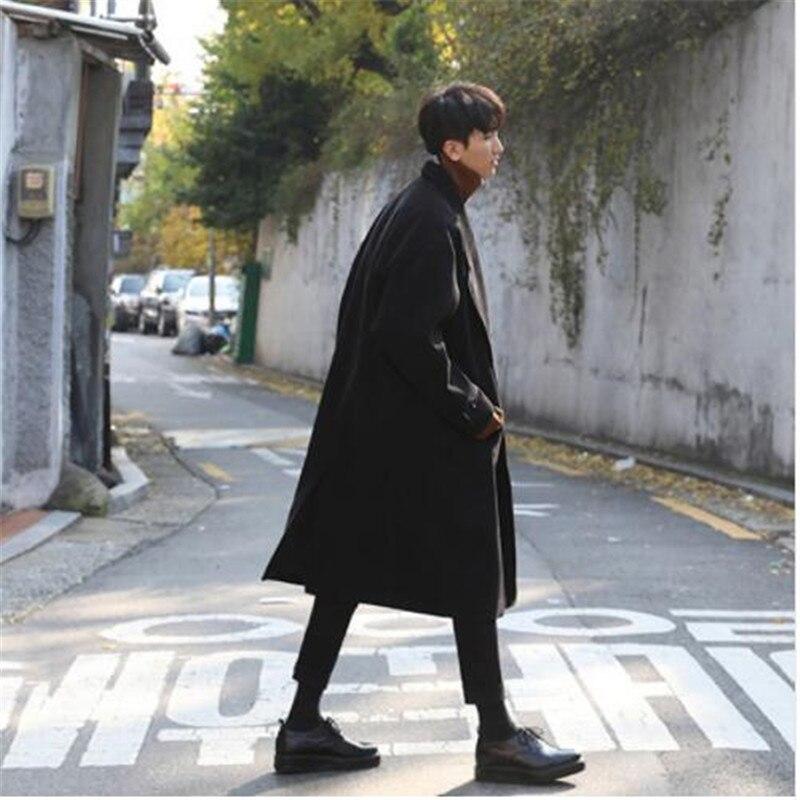 M-XL!!Overcoat Long Design Wool Coat Woolen Outerwear Male Loose Wool Coat Male Brief