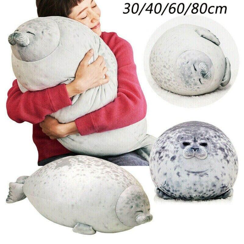 80cm Plush Animal Toy Chubby Blob Seal Cute Ocean Pillow Stuffed Doll Kids Gift