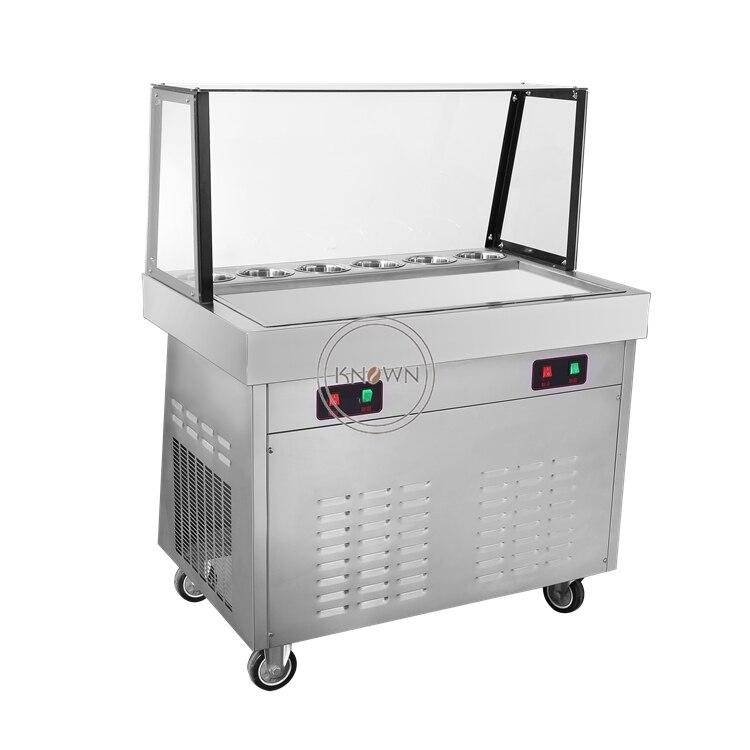 Popular 2000W Fried Ice Cream Machine Stainless Steel Ice Cream Maker Single Pan Ice Cream Roll Machine