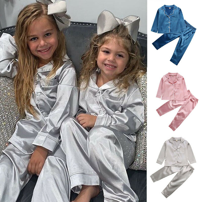 Toddler Baby Kids Satin Pajamas Set Long Sleeve Button-Down Sleepwear PJs for Girls