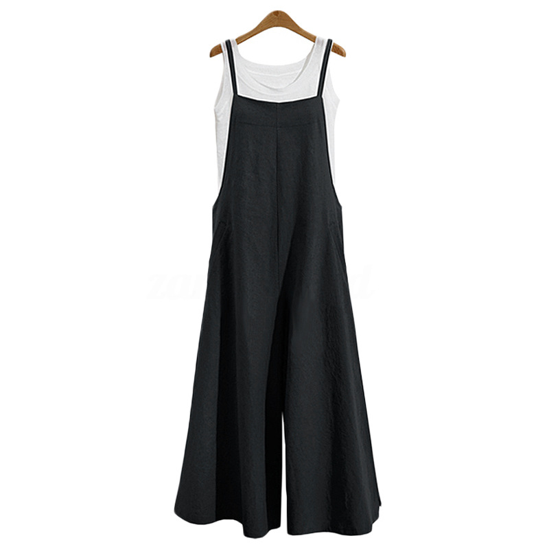 Women Casual Solid Spaghetti Straps Wide Leg Pants Pockets Loose Bib Cotton Linen Jumpsuits