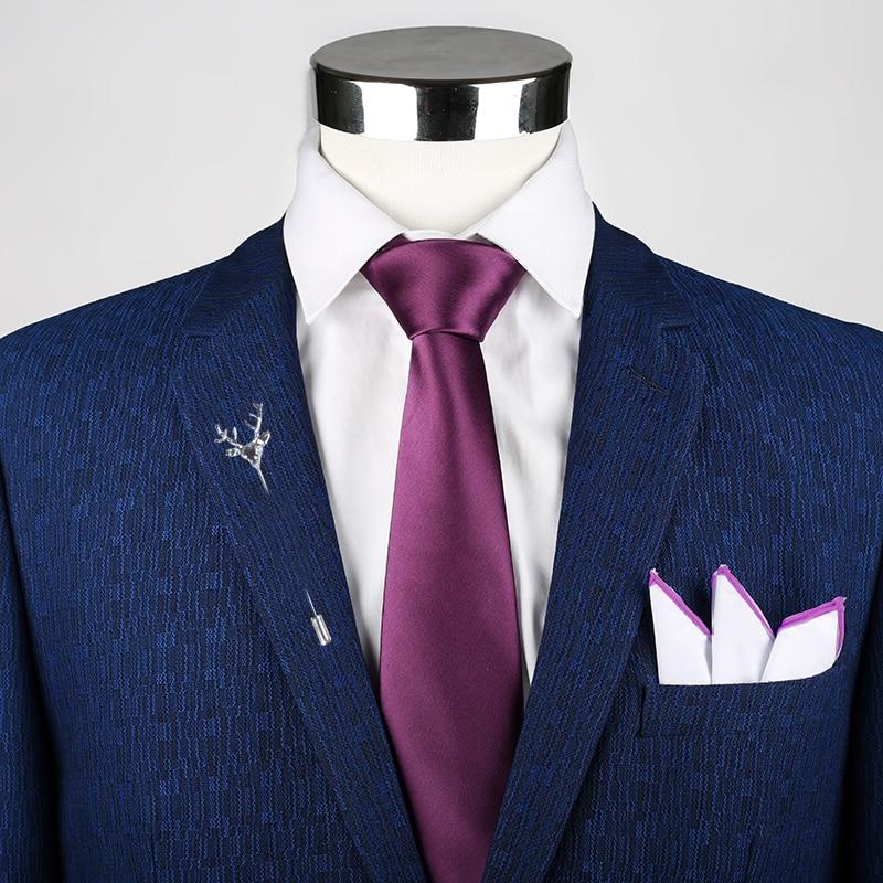 Mens Tie Solid Handkerchief Necktie Brooch Set Fashion Solid Purple Ties For Men Cravat Party Man Gift Wedding Dress Accessories