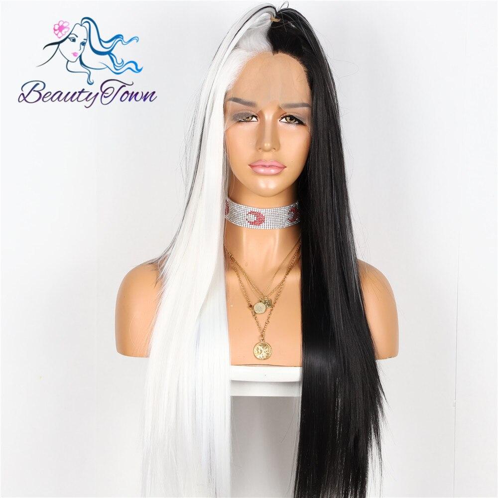 BeautyTown HandTied pół czarny w połowie biały odporne na ciepło proste Cosplay Celebrity dziewczyna Wedding Party syntetyczna koronka peruka Front