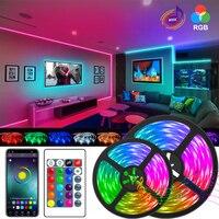 Tira de luces LED compatible con Bluetooth 5050, Fondo de pared de TV, 10M, 15M, 20M, WIFI, RGB, lámpara Flexible, diodo de cinta led de 5M