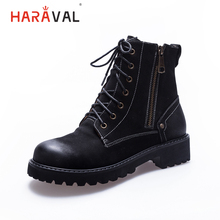 купить HARAVAL Fashion Martin Woman Ankle Boots Luxury Genuine Leather Retro Round Toe Low Heels Shoes Solid Lace-up Zipper Boot B228 дешево