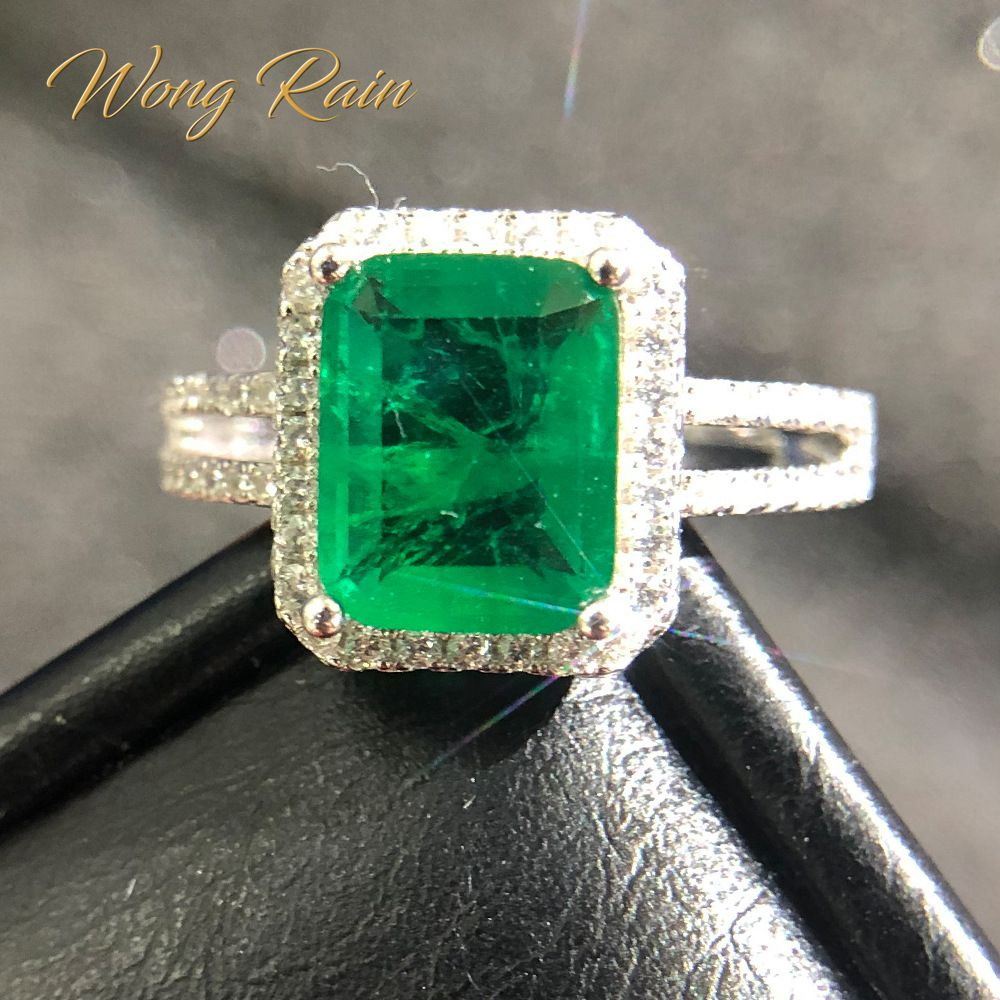 Wong Rain Vintage 100% 925 Sterling Silver Natural Emerald Gemstone Wedding Engagement Cocktail Ring Fine Jewelry Wholesale