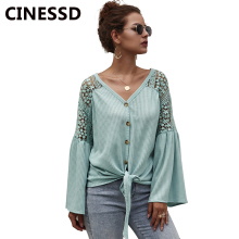 CINESSD V Neck Long Sleeves Knitted Sweater Women Solid Button Cardigan Hook Floral Hollow Lace Knitwear Tops Sweaters Tee Shirt black lace details long sleeves knitwear