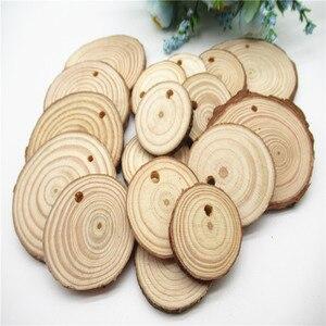 Image 4 - 5/10pcsNatural ahşap dilimleri bitmemiş yuvarlak daire ağaç kabuğu Log diskler DIY oyuncaklar ev dekorasyon ahşap el yapımı el sanatları