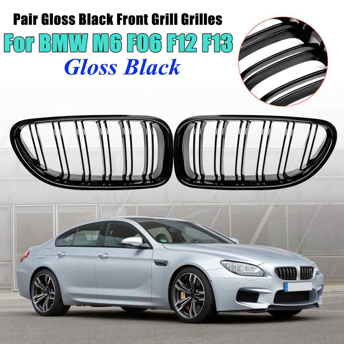 For BMW M6 640i 650i F06 F12 F13 2012 2013 2014 2015 2016 2017 Car Front Kidney Grill Bumper Grill Double Slat Line Gloss Black