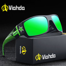 Viahda design masculino clássico polarizado óculos de sol masculino esporte pesca máscaras óculos uv400 proteção