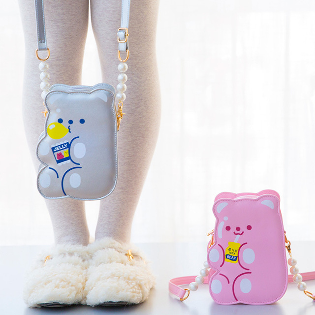 Bentoy PU Leather Girls Crossbody Bag Jelly Bear Phone Organizer Shoulder Bags Cute Laser Girls Lovely Gift for Teenager
