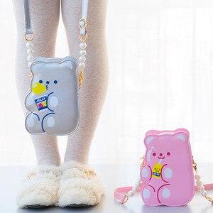 Image 1 - Bentoy PU skórzane dziewczyny Crossbody torba galaretki niedźwiedź telefon organizator torby na ramię słodkie laserowe dziewczyny uroczy prezent dla nastolatka