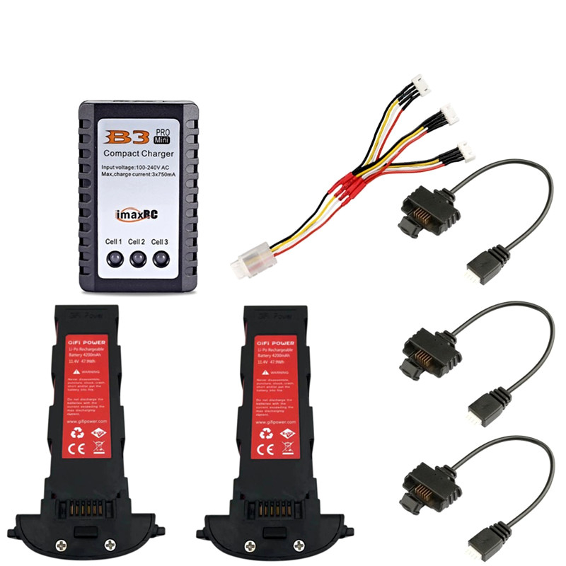 11.4v 4200mAh Lipo Battery And B3 Charger For Hubsan H117S Zino GPS RC FPV Racing Camera Drones Quadcopter Parts 11.4V Battery