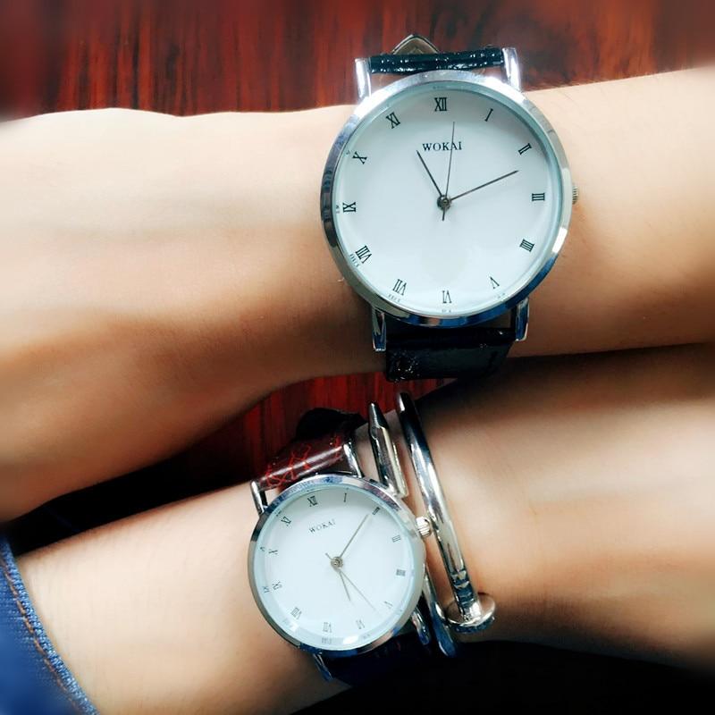 WOKAI White Couple Watch Brief Fashion Watches Women Men Relojes Para Pareja Leather Strap Ladies Man Clock Gift Reloj Mujer