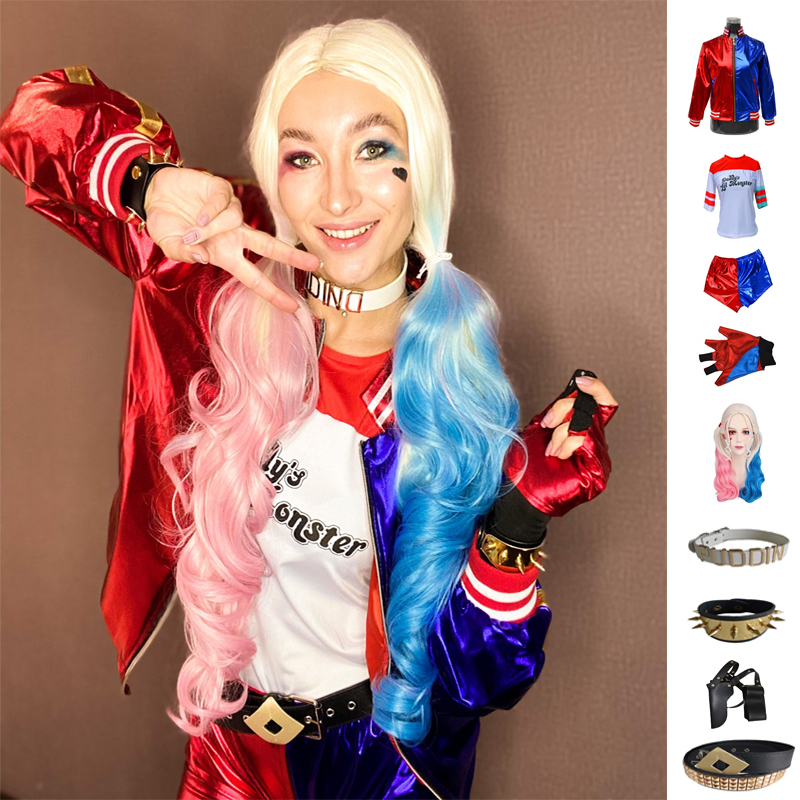 Kids Girls Suicide Harley cosplay Costumes Squad Quinn Monster Jacket Pants Sets Christmas Kids Girls New Year Party Clothes